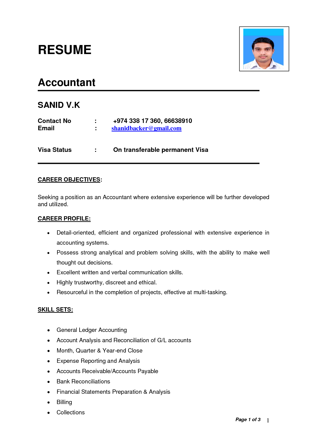 Resume Format Used In India
