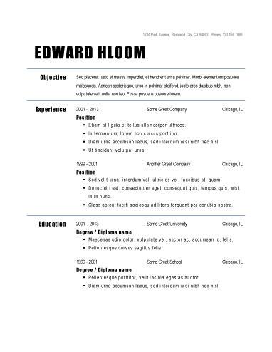 Resume Examples Basic
