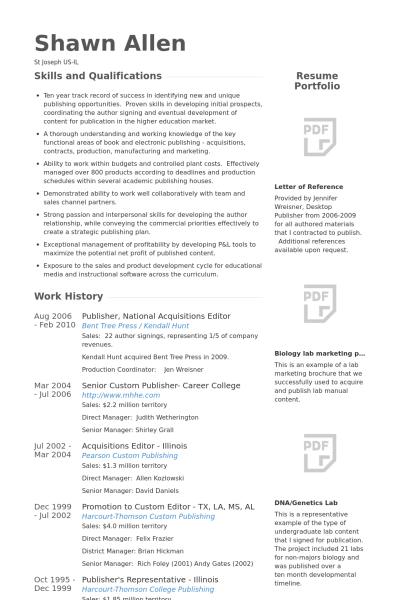 e publishing resume format
