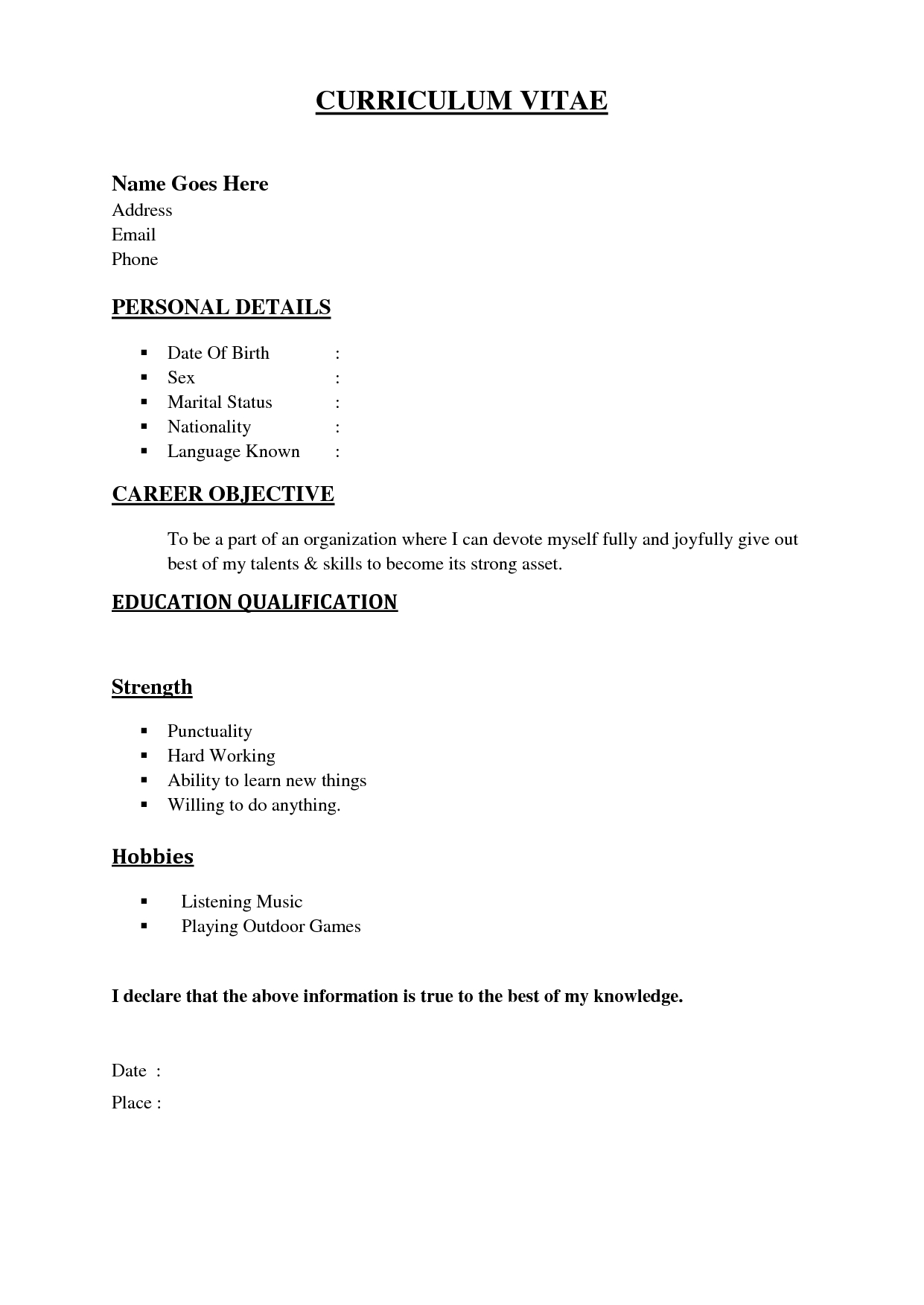 Resume Examples Basic Resume Templates