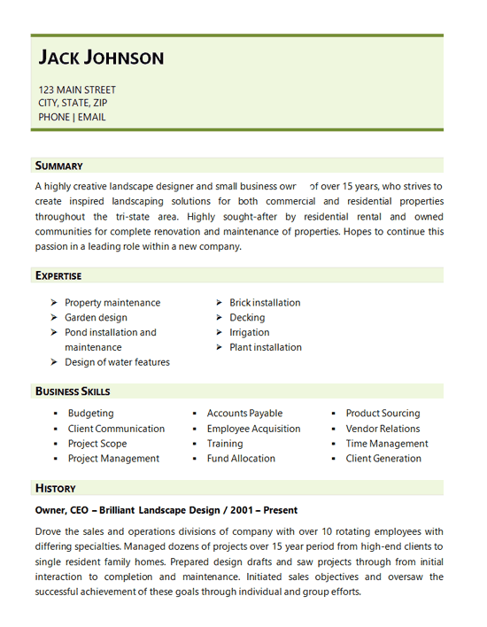 Resume Examples Landscaping