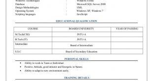 M.Tech Resume Format