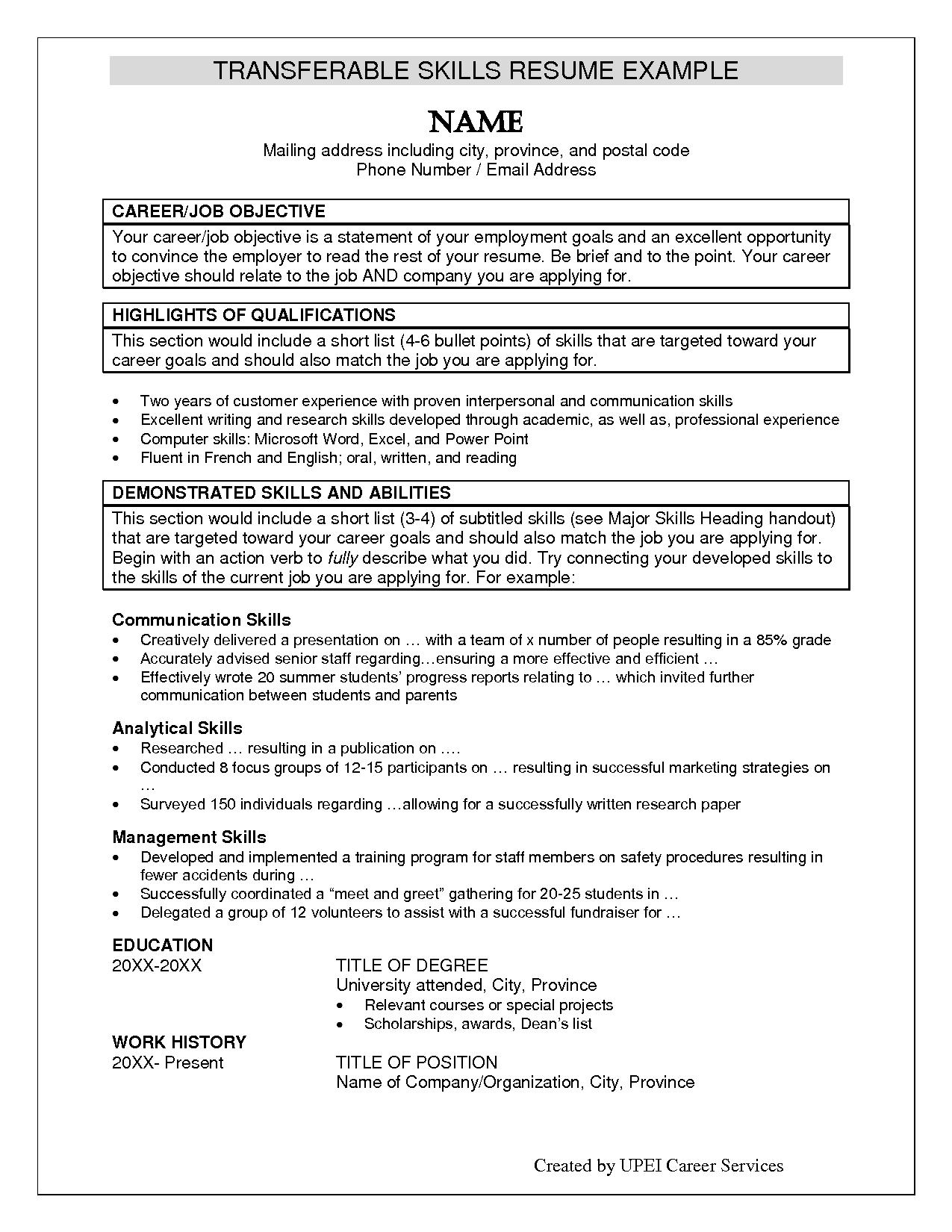 Resume Examples Skills