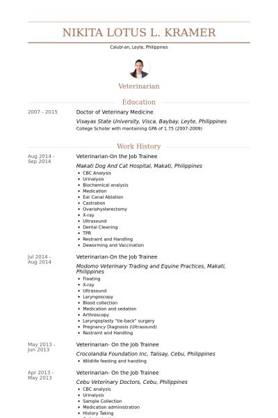 Resume Format Veterinary Doctor