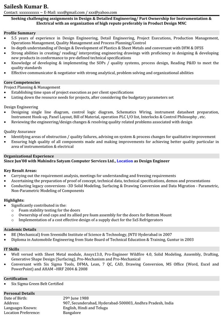 Resume Format 5 Years Experience