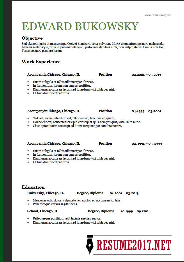 Resume Examples 2018