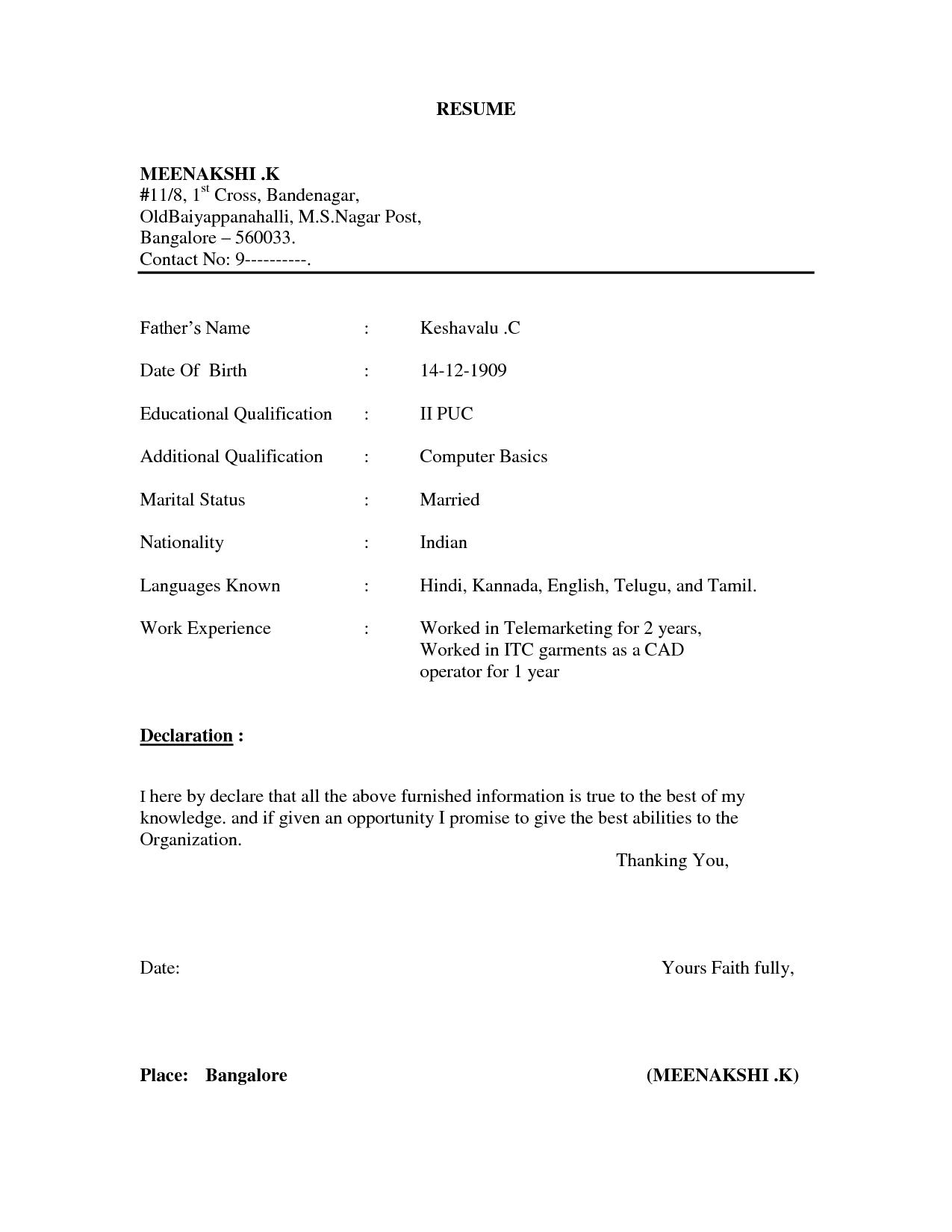 Resume Format Normal