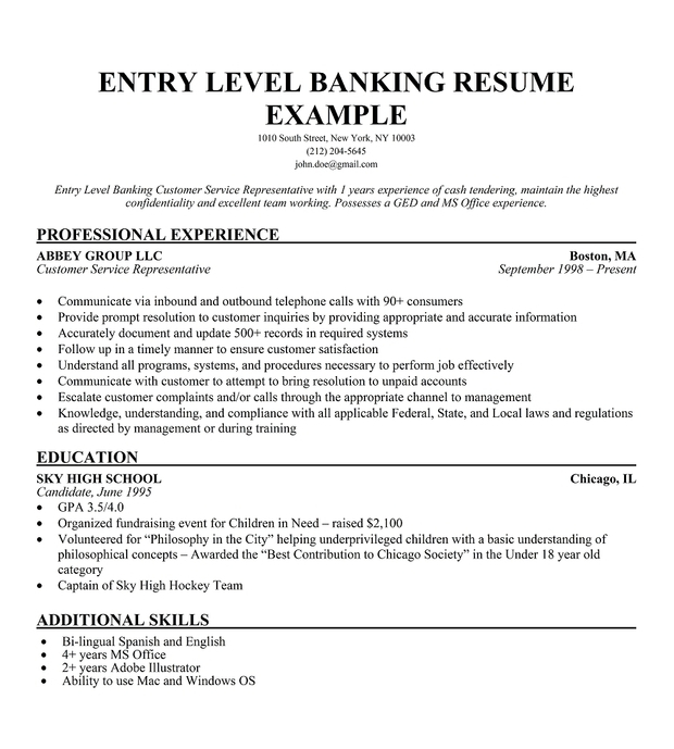 resume templates beginner