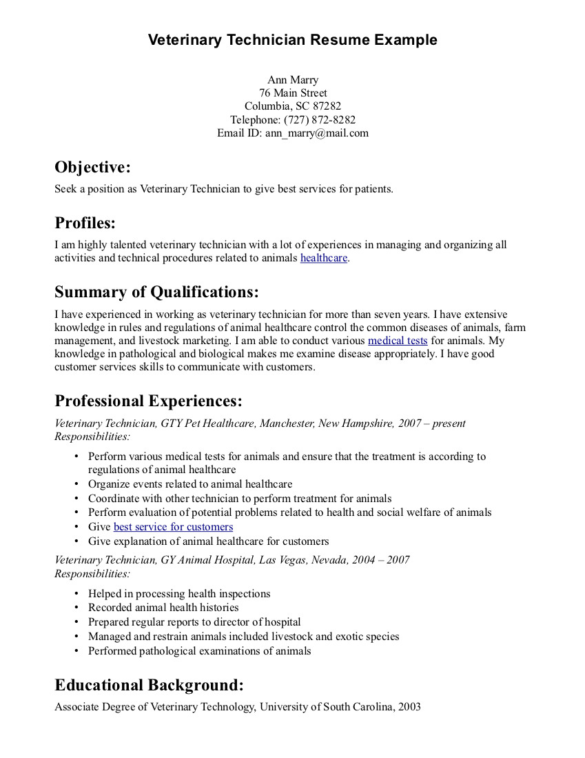 resume templates veterinary assistant