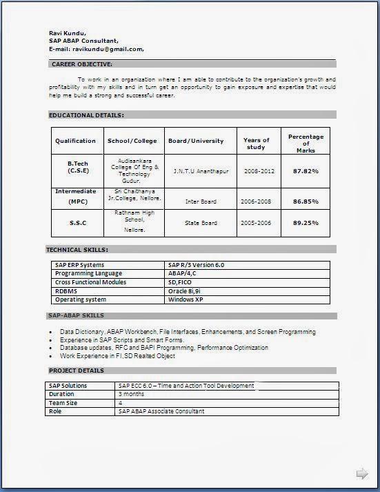 M.Tech Resume Format - Resume Templates