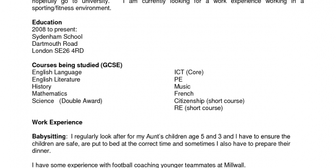 Resume Examples Year 10