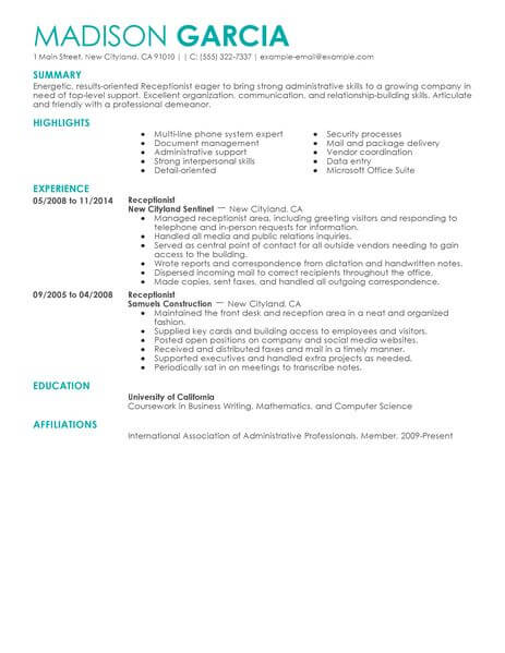 Resume Templates Receptionist