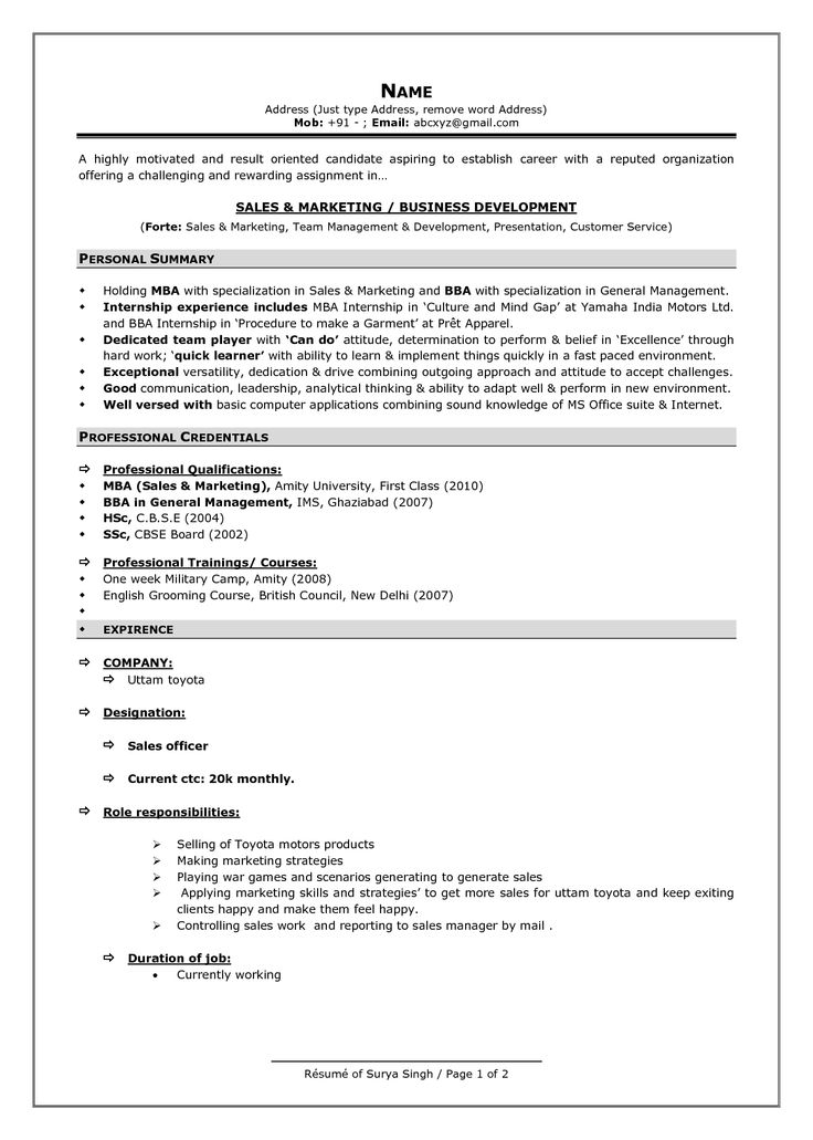 Resume Format For Experienced Professional
