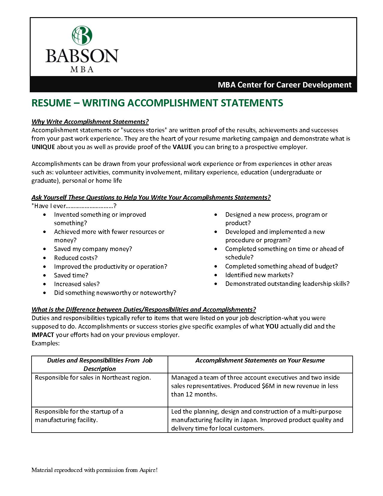Accomplishments On Resume Examples