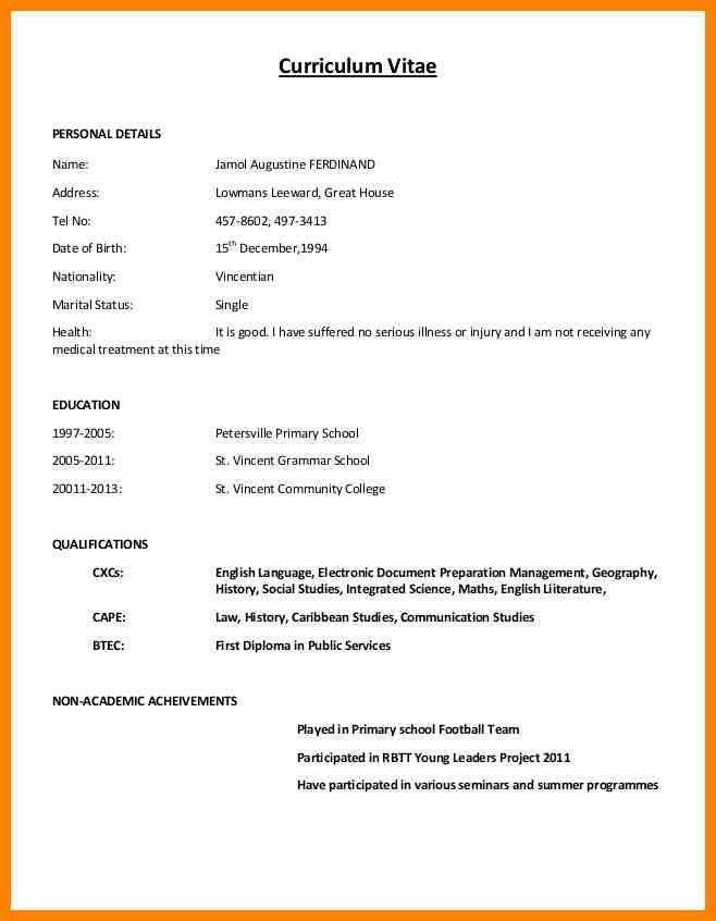 Resume Format Normal Resume Templates