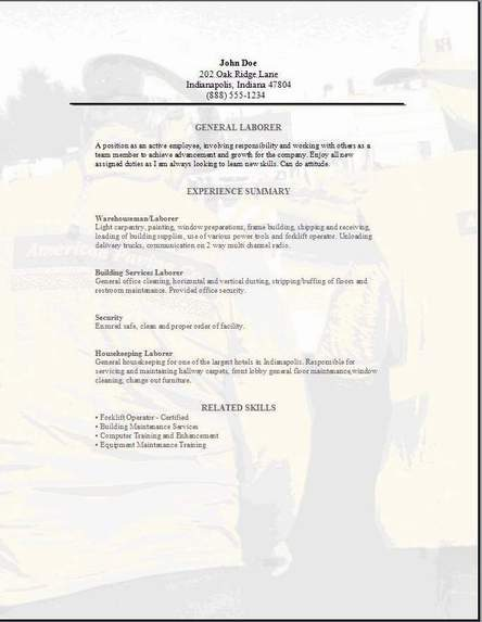 Resume Examples General Labor