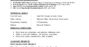 M Tech Fresher Resume Format