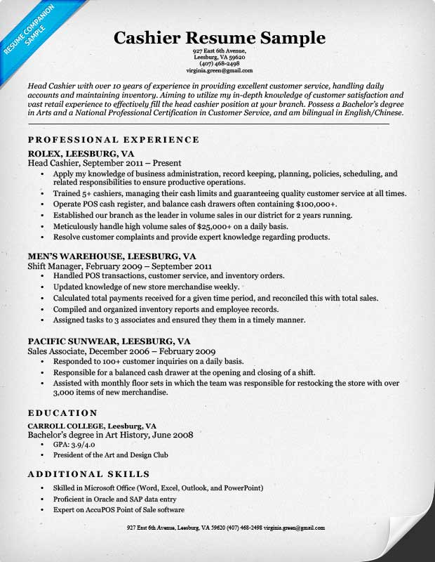 Resume Examples Cashier