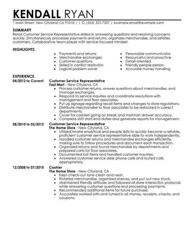 Resume Examples Of Customer Service