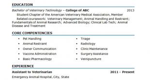 Resume Examples Vet Tech