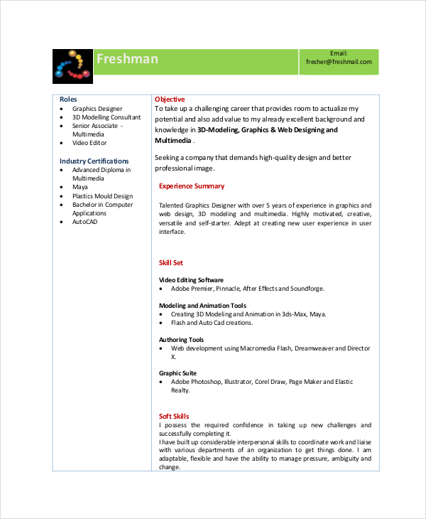 Resume Format Vfx Freshers Resume Templates