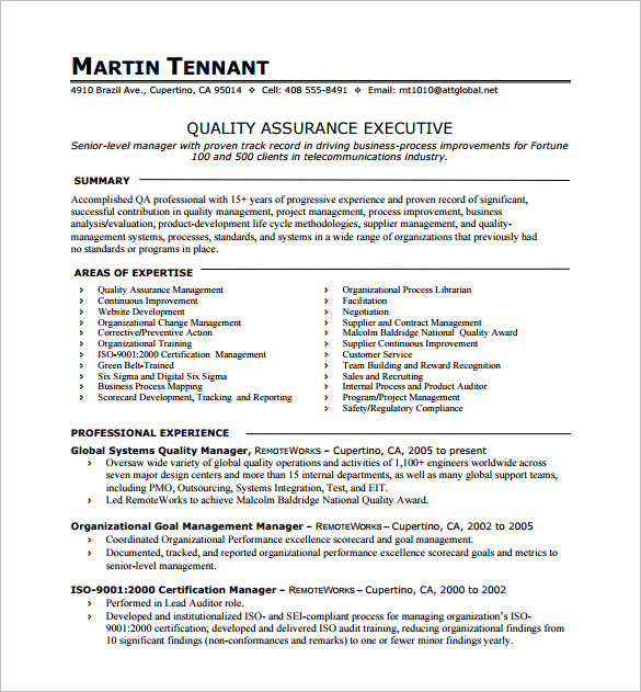 Resume Format One Page Resume Templates