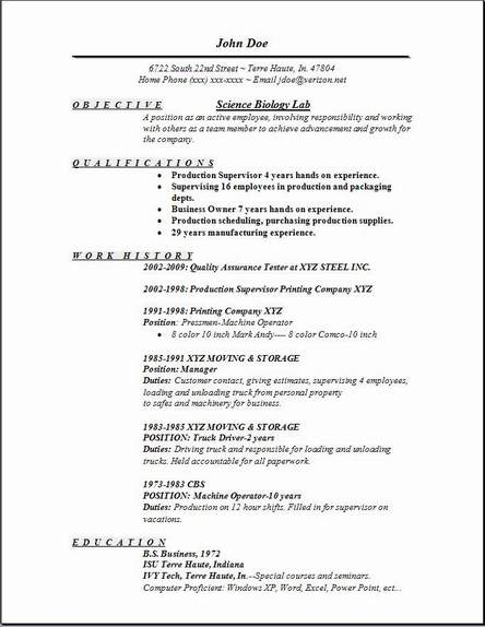 Resume Examples Biology