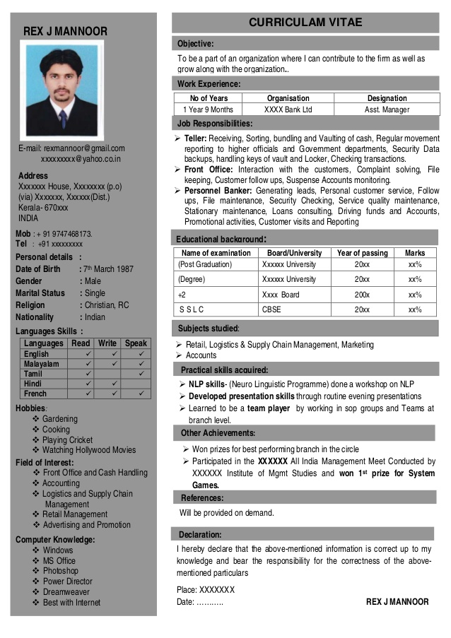 Resume Format One Page