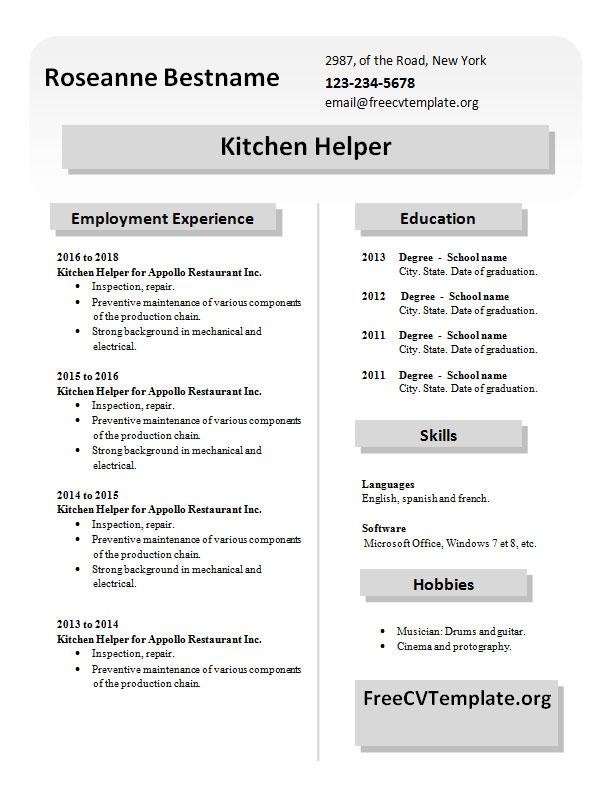 Kitchen Helper Job Description Resume