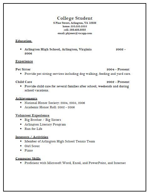 Resume Templates College Resume Templates