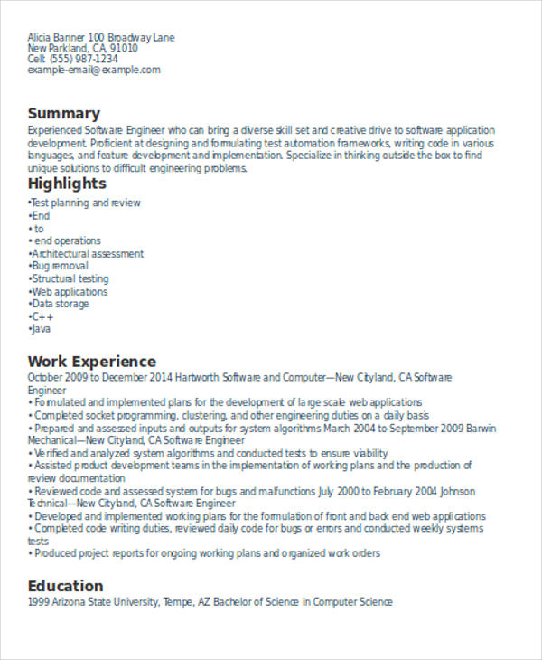 Resume Format Experience Resume Templates