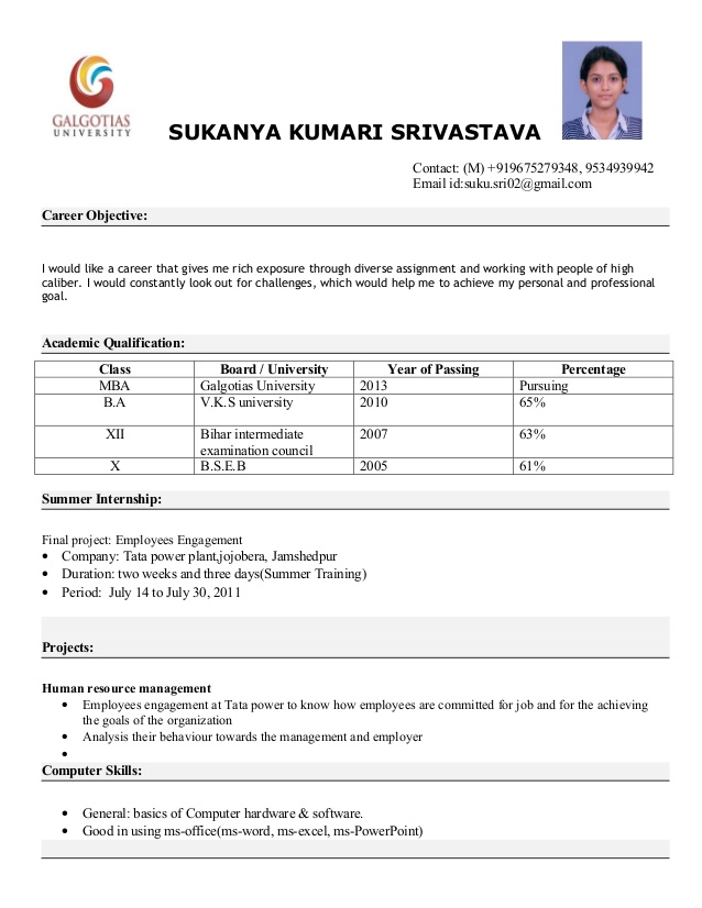 Resume Format With Photo