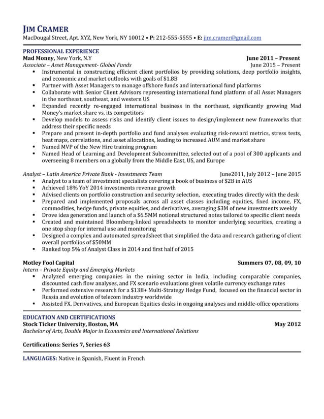 5 Star Resume Examples