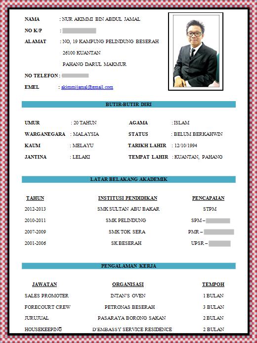 Resume Format Kerja Resume Templates