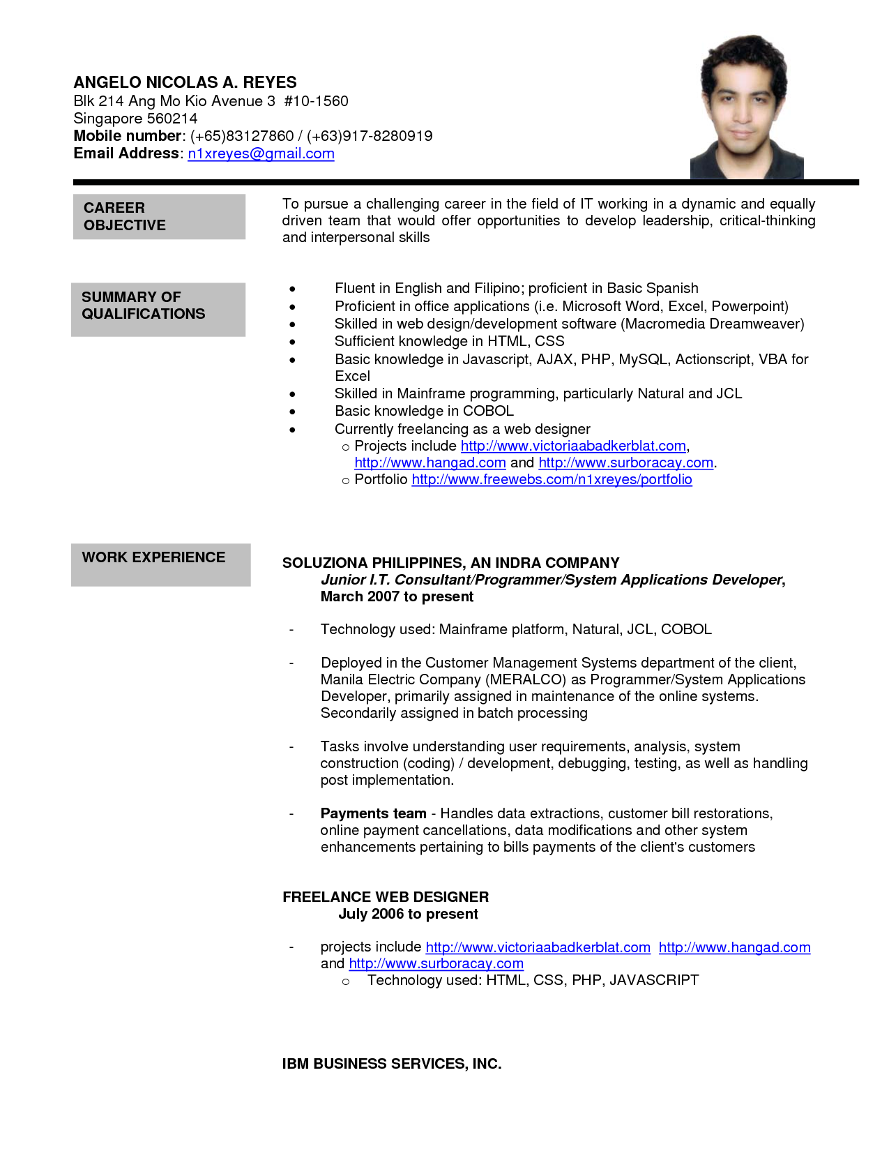 Resume Format With References