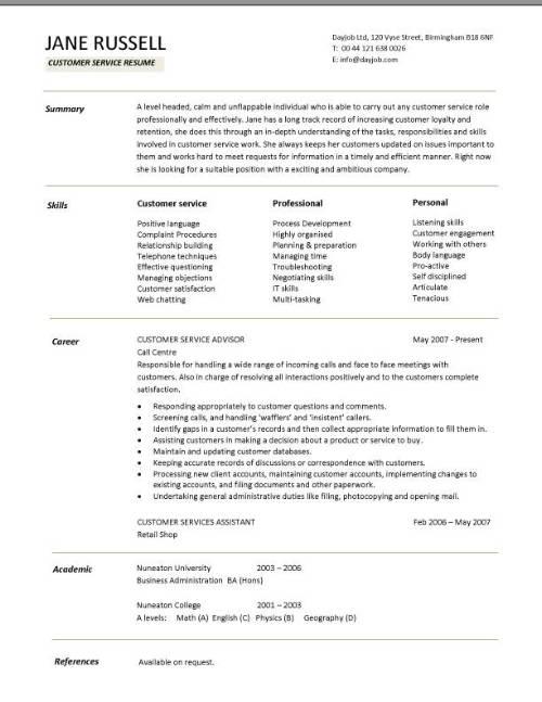 Resume Templates Customer Service