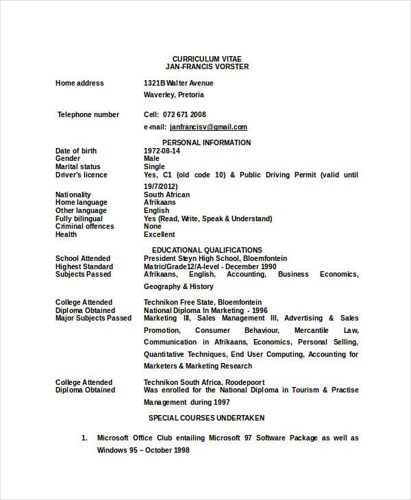 sample resume zookeeper