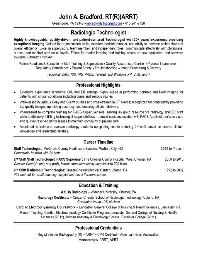 X Ray Technician Resume Format Templates