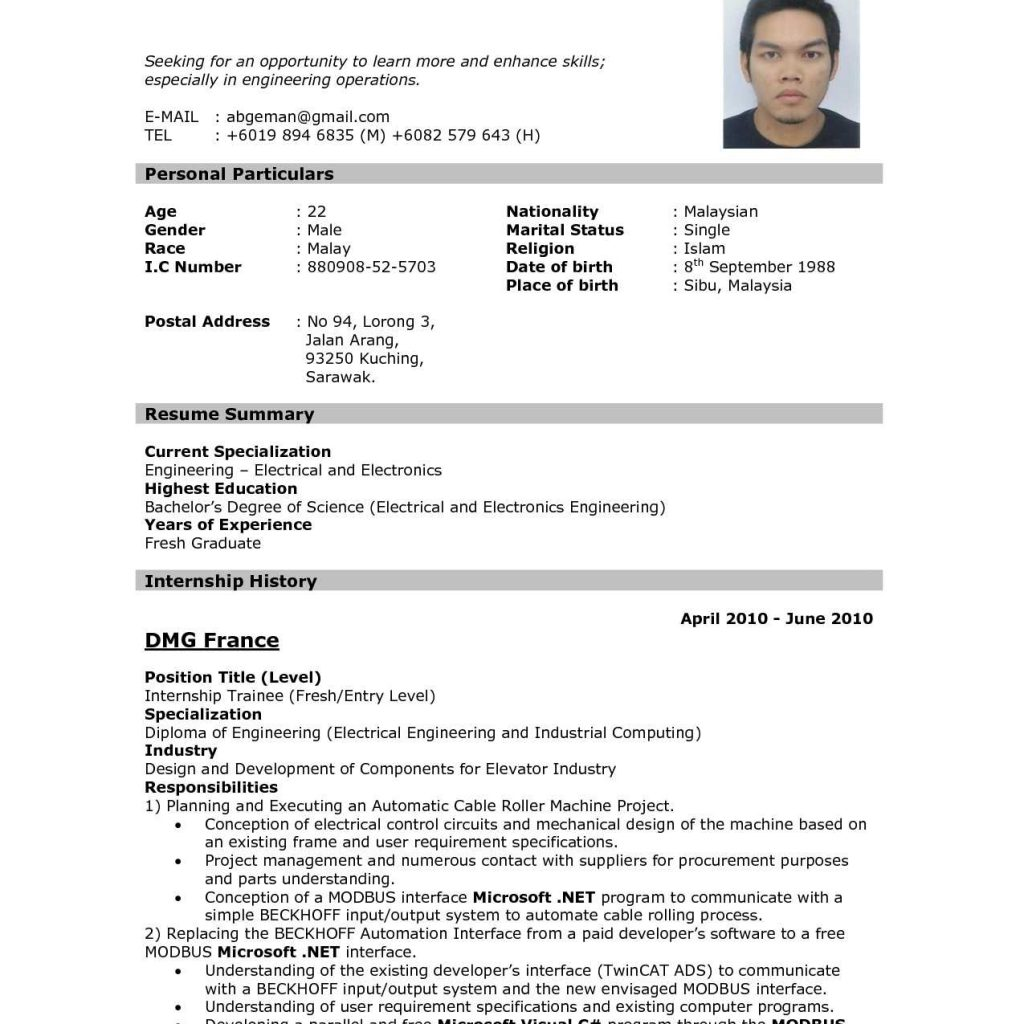 Resume Sample Malaysia For Internship