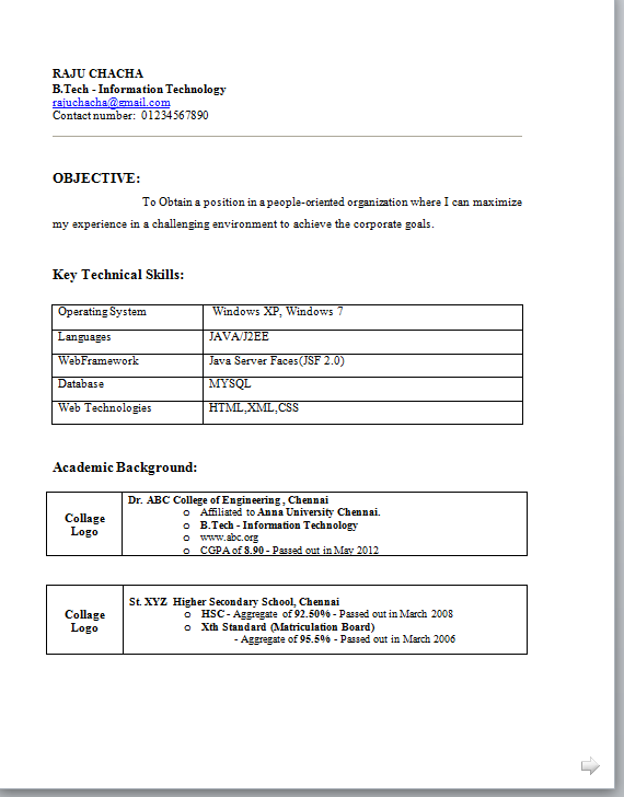 B Tech Fresher Resume Templates Resume Templates