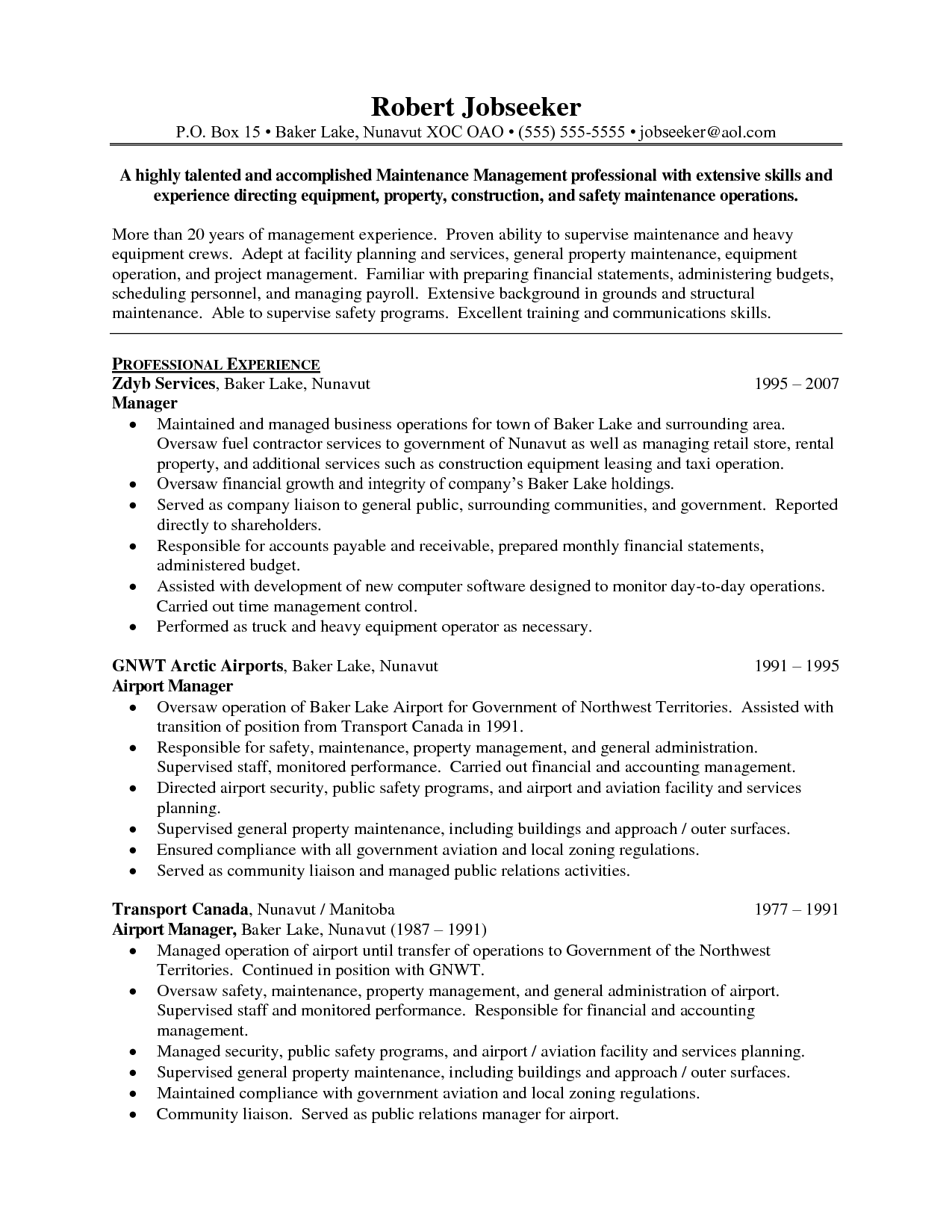 Resume Examples Operations Manager