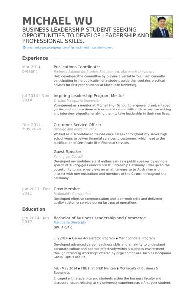 resume format publications