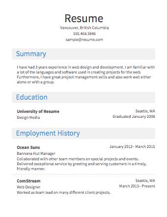 Resume Format For Job