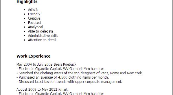 Resume Format Garment Industry Resume Templates