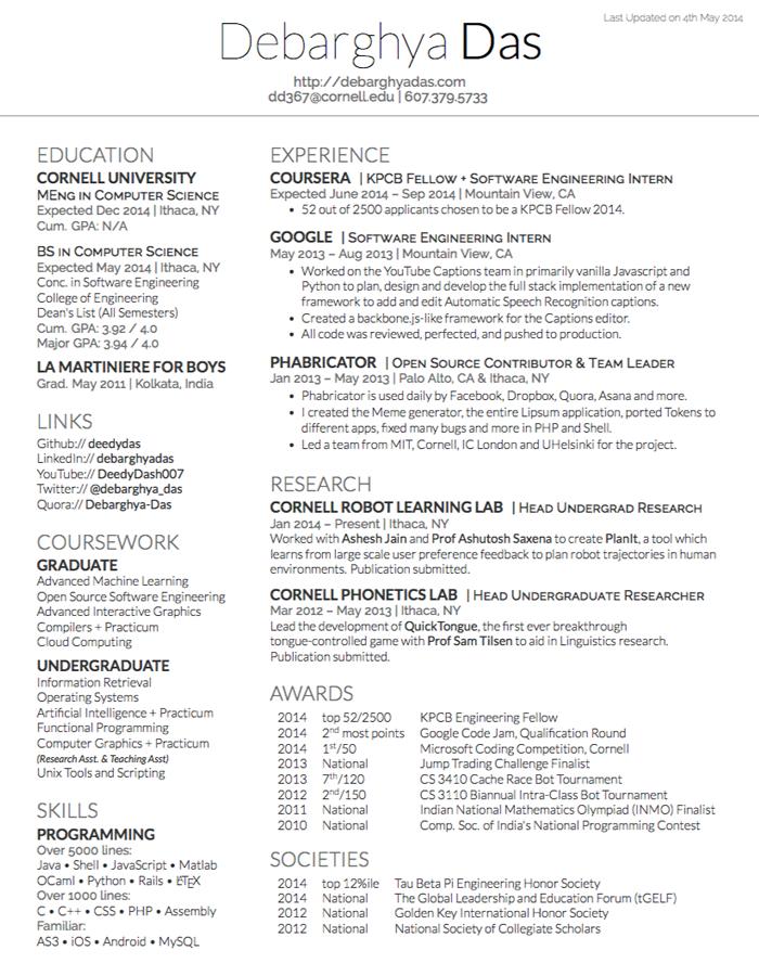 Resume Format In Latex