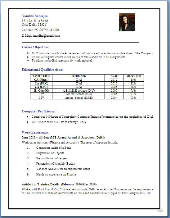 Resume Format For 5 Years Experience In Accounting Resume Templates