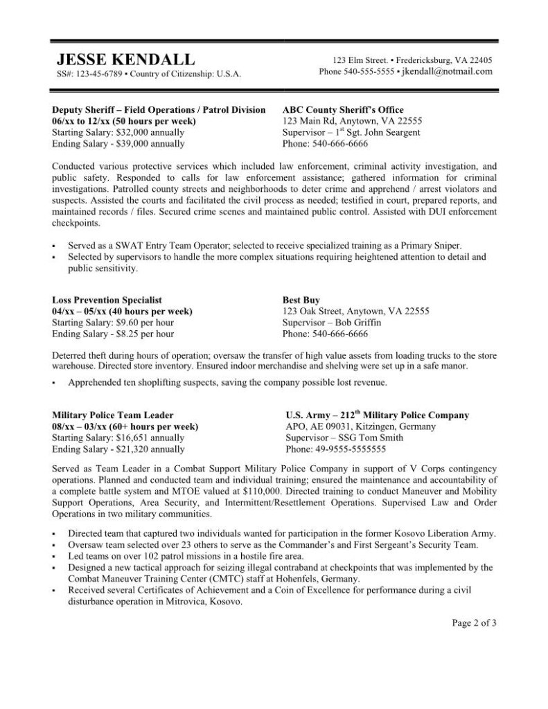 Resume Format Government Job Resume Templates