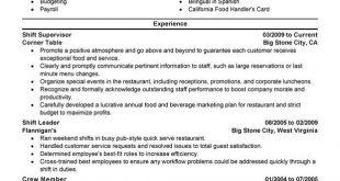 Resume Examples Supervisor