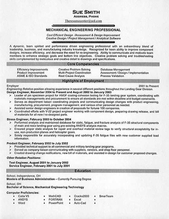 Resume Examples Mechanical Engineer Resume Templates