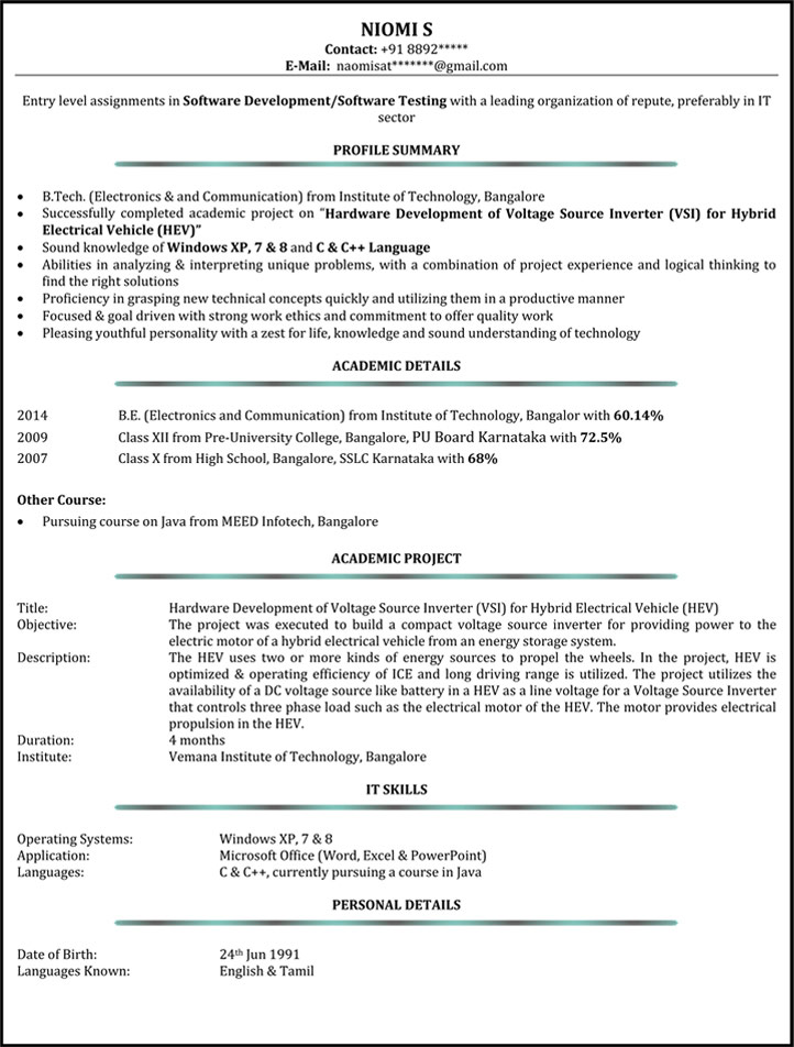 Sample Resume Format For 5 Years Experience Resume Templates